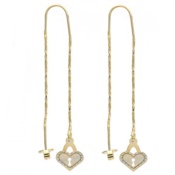 Gold Layered 02.65.2513 Threader Earring, Heart and Lock Design, Polished Finish, Golden Tone