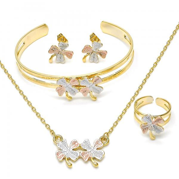 Gold Layered 06650112 Earring And Pendant Children Set Leaf Design