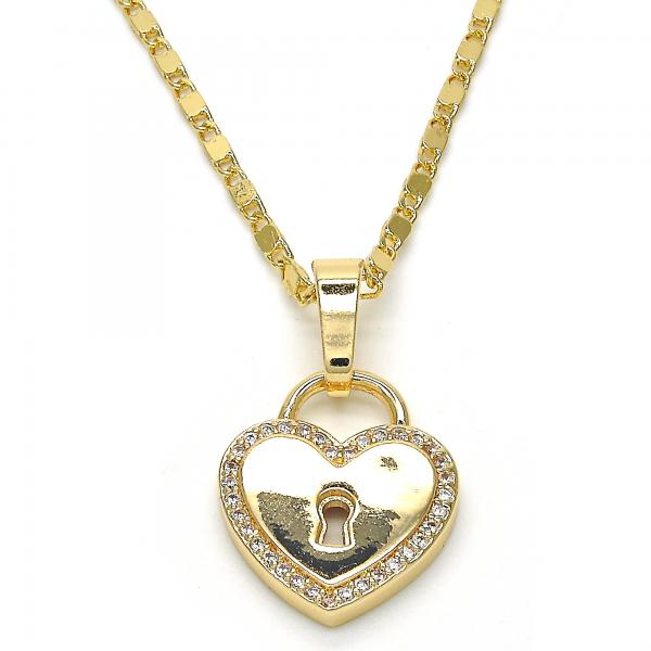 Gold Layered 04.296.0003.18 Fancy Necklace, Heart and Lock Design, with White Micro Pave, Polished Finish, Golden Tone