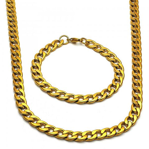 Stainless Steel Necklace and Bracelet, Curb Design, Golden Tone