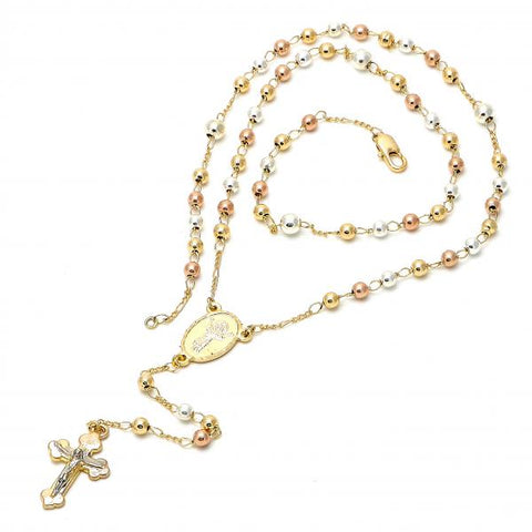 Gold Plated 09.59.0035.22 Thin Rosary, Divino Niño Design, Polished Finish, Tri Tone