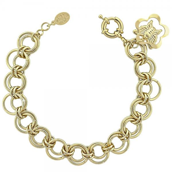 Gold Layered 5.036.008 Charm Bracelet, Butterfly Design, Polished Finish, Golden Tone