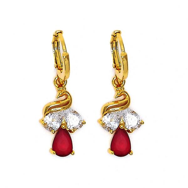 Gold Layered 02.206.0010 Long Earring, Teardrop Design, with White and Rhodolite Cubic Zirconia, Polished Finish, Golden Tone