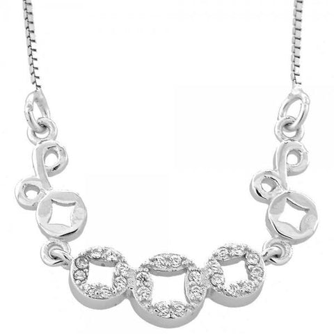 Sterling Silver 04.183.0038.16 Fancy Necklace, Flower Design, with White Micro Pave, Rhodium Tone
