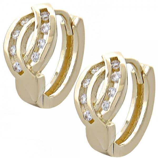 Gold Layered 02.155.0031 Huggie Hoop, with White Cubic Zirconia, Polished Finish, Golden Tone