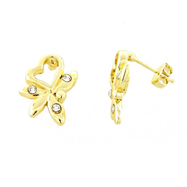 Gold Layered 02.59.0031 Stud Earring, Heart and Flower Design, with White Crystal, Polished Finish, Golden Tone