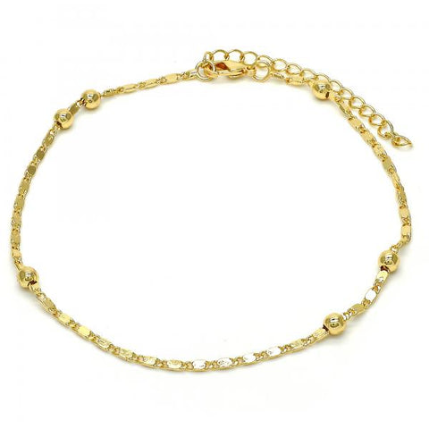 Gold Layered 03.318.0005.09 Fancy Anklet, Polished Finish, Golden Tone