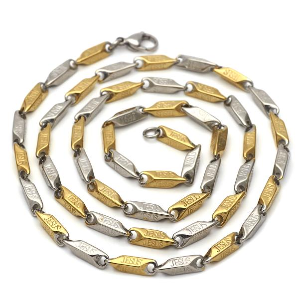 Stainless Steel 04.113.0061.30 Basic Necklace, Diamond Cutting Finish, Two Tone