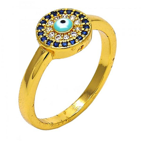 Gold Layered Multi Stone Ring, Greek Eye Design, with Micro Pave, Golden Tone