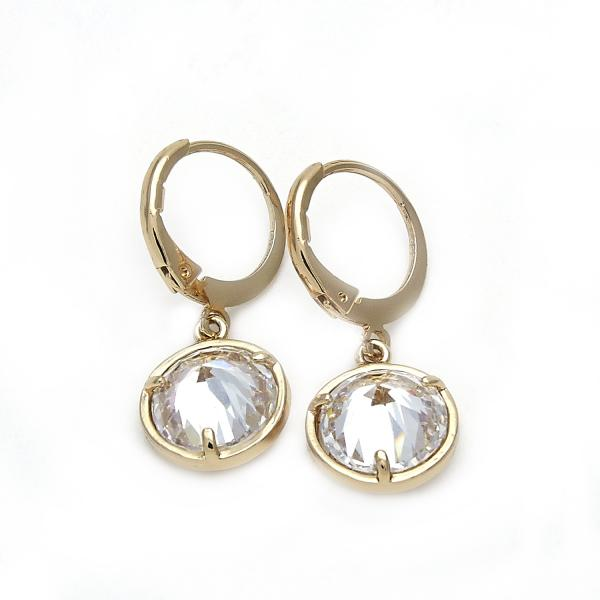 Gold Layered 02.171.0019 Dangle Earring, Flower Design, with Dark Champagne Cubic Zirconia, Polished Finish, Golden Tone
