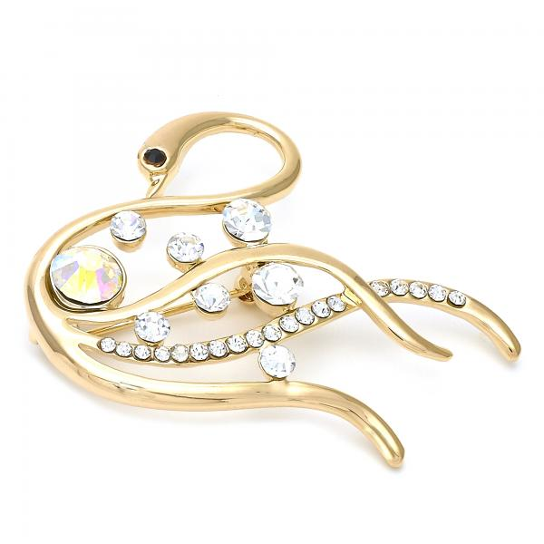 Gold Layered Basic Brooche, Swan Design, with Crystal, Golden Tone