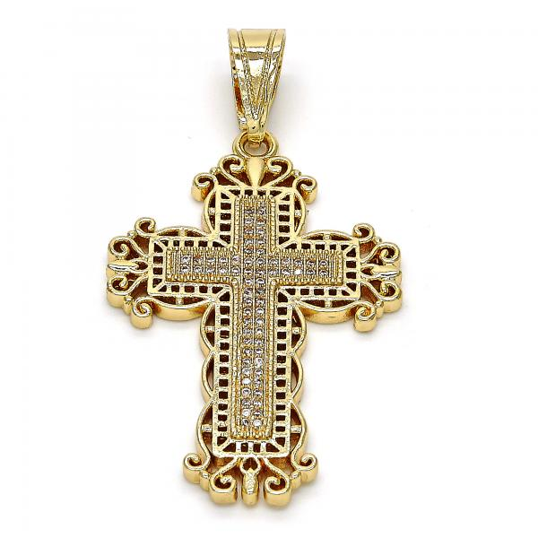 Gold Layered 05.120.0045 Religious Pendant, Cross Design, with White Micro Pave, Polished Finish, Golden Tone