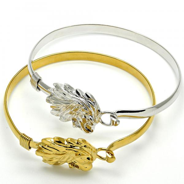 Gold Layered Individual Bangle, Lion Design, Golden Tone