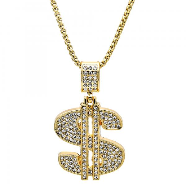 Gold Layered 04.242.0080.30 Fancy Necklace, Money Sign Design, with White Crystal, Polished Finish, Golden Tone