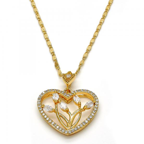 Gold Layered 04.217.0001.18 Fancy Necklace, Heart and Leaf Design, with White Cubic Zirconia, Polished Finish, Golden Tone