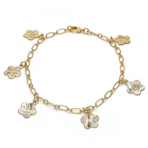 Gold Layered 04.63.1370.08 Charm Bracelet, Flower Design, Polished Finish, Golden Tone