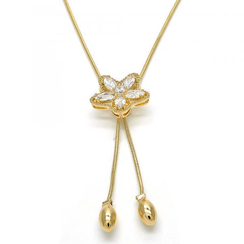 Gold Layered 04.26.0037.22 Fancy Necklace, Star and Flower Design, with White Cubic Zirconia, Polished Finish, Golden Tone
