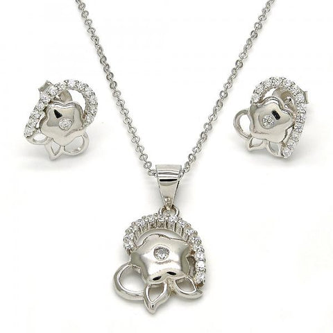 Sterling Silver 10.285.0009 Earring and Pendant Adult Set, Flower Design, with White Cubic Zirconia, Polished Finish, Rhodium Tone