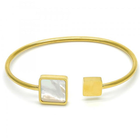 Stainless Steel 07.265.0007 Individual Bangle, with White Mother of Pearl, Polished Finish, Golden Tone (03 MM Thickness, One size fits all)