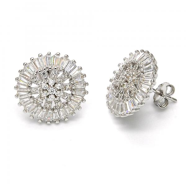 Sterling Silver 02.175.0124 Stud Earring, with White Cubic Zirconia, Polished Finish, Rhodium Tone