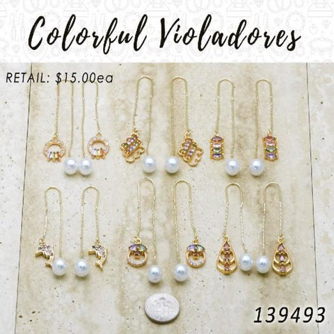 35 Colorful Violador Threader Earrings in Gold Layered ($2.85) ea