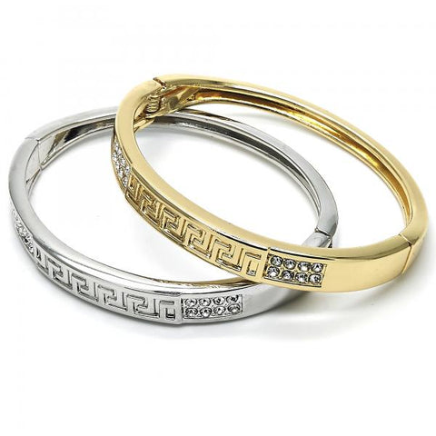 Gold Layered Individual Bangle, Greek Key Design, with Crystal, Golden Tone