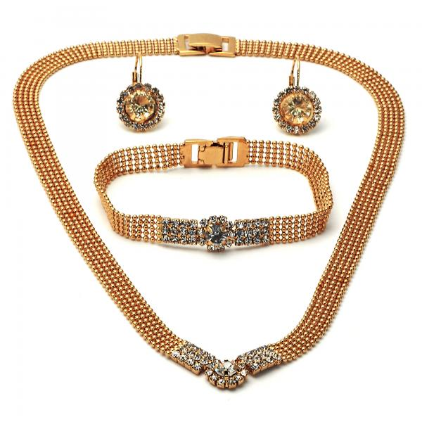 Gold Layered 5.012.001 Necklace, Bracelet and Earring, with  Cubic Zirconia, Golden Tone