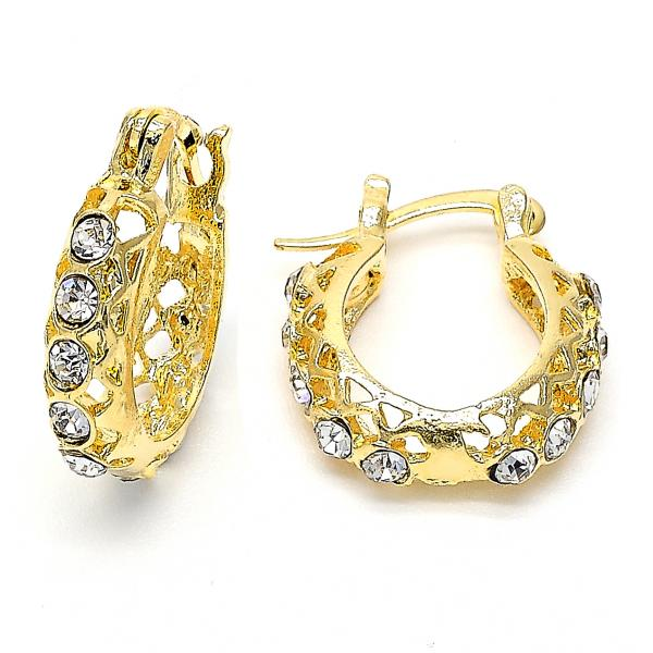Gold Layered 02.164.0040 Huggie Hoop, with White Crystal, Polished Finish, Golden Tone