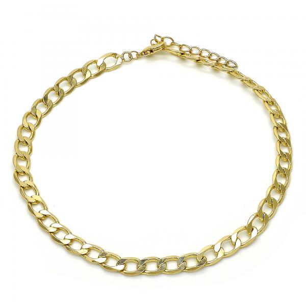 Gold Layered 04.213.0100.10 Basic Anklet, Pave Cuban Design, Polished Finish, Golden Tone