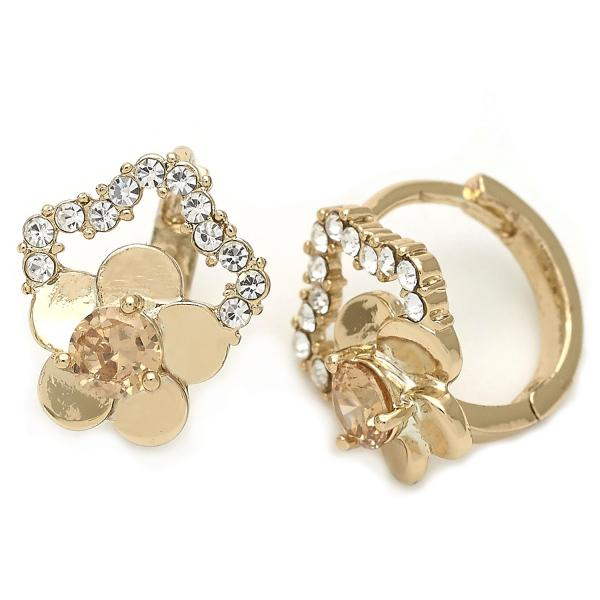 Gold Layered 02.171.0012 Huggie Hoop, Flower Design, with White and White Cubic Zirconia, Polished Finish, Golden Tone