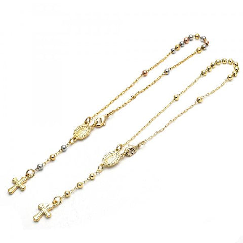 Gold Layered Bracelet Rosary, Guadalupe and Cross Design, Tri Tone
