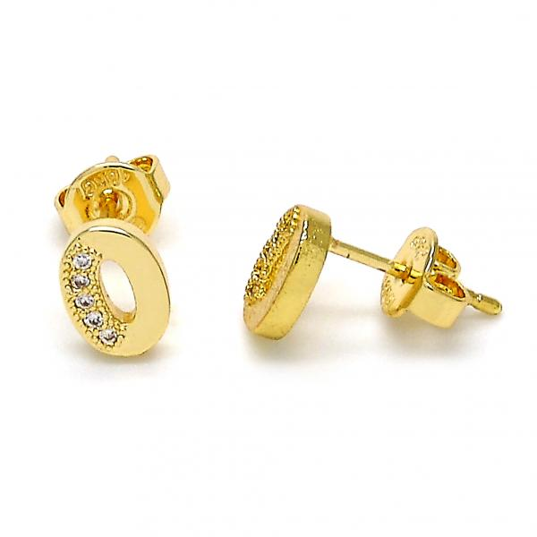 Gold Layered 02.156.0210 Stud Earring, with White Micro Pave, Polished Finish, Golden Tone