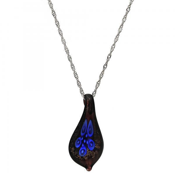 Gold Tone 04.276.0005.18.GT Fancy Necklace, Flower Design, with Sapphire Blue Azavache, Polished Finish, Rhodium Tone
