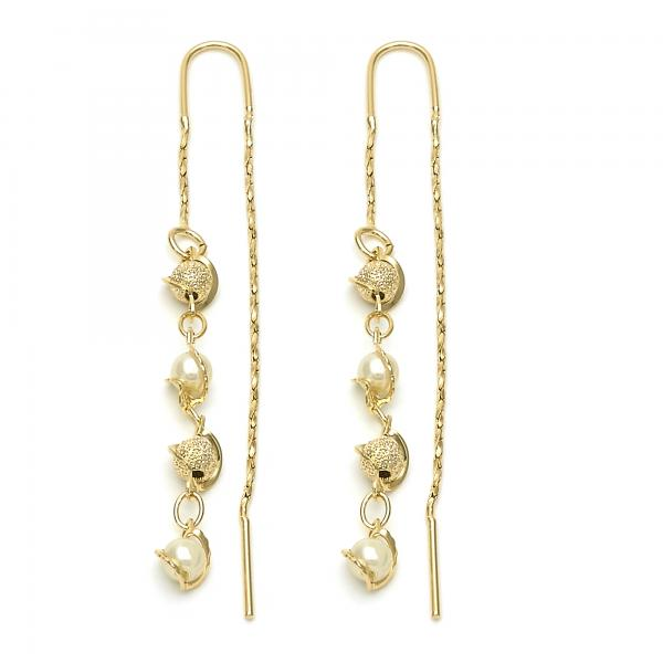 Gold Layered 02.02.0436 Long Earring, Ball Design, with Ivory Mother of Pearl, Matte Finish, Golden Tone