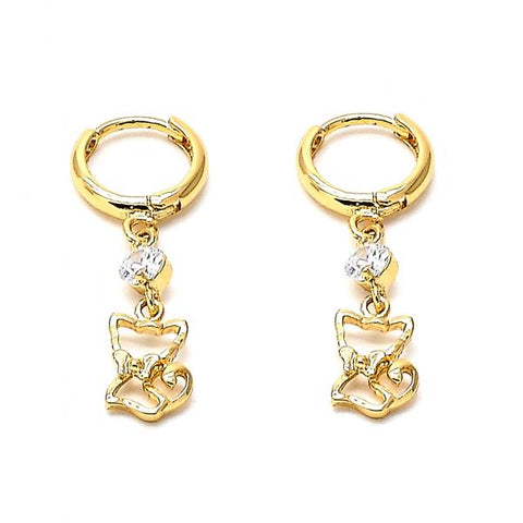 Gold Layered 02.171.0020 Dangle Earring, Cat Design, with White Cubic Zirconia, Polished Finish, Golden Tone