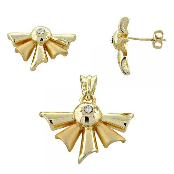 Gold Layered 10.59.0191 Earring and Pendant Adult Set, with White Crystal, Polished Finish, Golden Tone