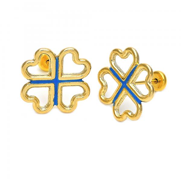 Gold Layered 02.09.0052 Stud Earring, Heart Design, Enamel Finish, Golden Tone