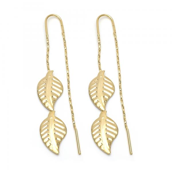 Gold Layered 02.02.0433 Long Earring, Leaf Design, Polished Finish, Golden Tone