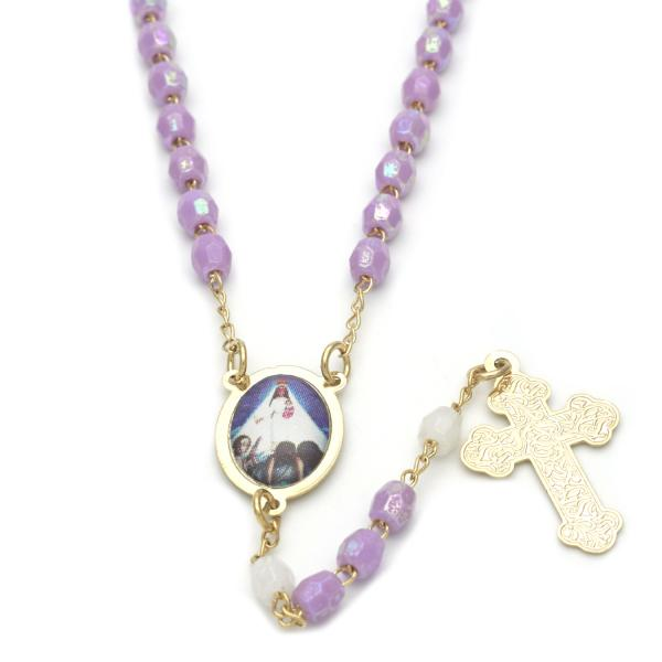 Gold Layered 09.02.0026.18 Thin Rosary, Caridad del Cobre and Cross Design, with Lavender and White Crystal, Polished Finish, Golden Tone
