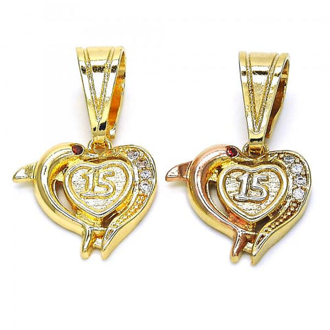 Gold Layered Fancy Pendant, Heart and Dolphin Design, with Cubic Zirconia, Tri Tone