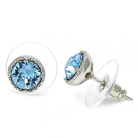 Rhodium Plated Stud Earring, with Swarovski Crystals, Rhodium Tone