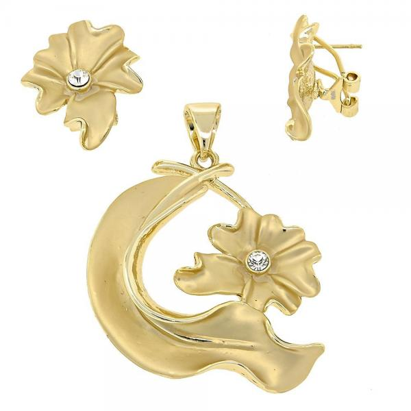 Gold Layered 5.040.006 Earring and Pendant Adult Set, Flower Design, with White Crystal, Matte Finish, Golden Tone