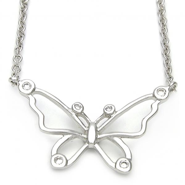 Sterling Silver 10.174.0161.18 Fancy Necklace, Butterfly Design, with White Micro Pave, Polished Finish, Silver Tone