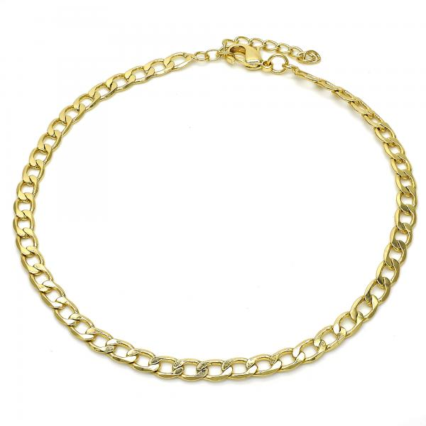 Gold Layered 04.213.0115.10 Basic Anklet, Pave Cuban Design, Polished Finish, Golden Tone