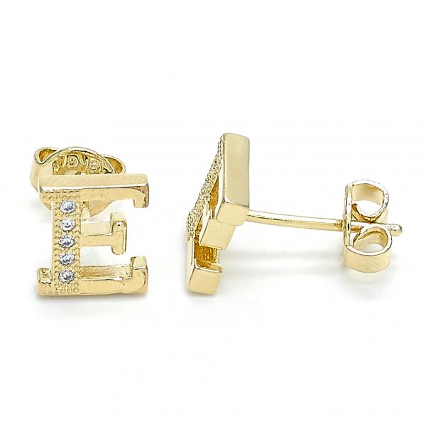 Gold Layered 02.156.0203 Stud Earring, with White Micro Pave, Polished Finish, Golden Tone