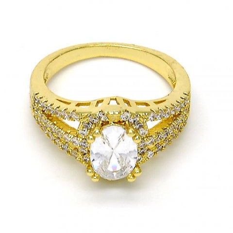 Gold Layered Multi Stone Ring, with Cubic Zirconia and Crystal, Golden Tone