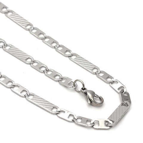 Stainless Steel 04.113.0040.24 Necklace and Bracelet, Mariner Design, Diamond Cutting Finish, Steel Tone