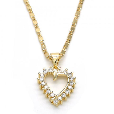 Gold Layered 04.195.0012.20 Fancy Necklace, Heart Design, with White Cubic Zirconia, Polished Finish, Golden Tone