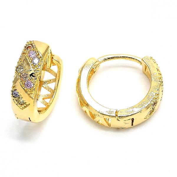 Gold Layered 02.122.0060 Huggie Hoop, with Multicolor Micro Pave, Diamond Cutting Finish, Golden Tone
