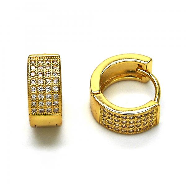 Gold Layered 02.195.0072.15 Huggie Hoop, with White Micro Pave, Polished Finish, Golden Tone